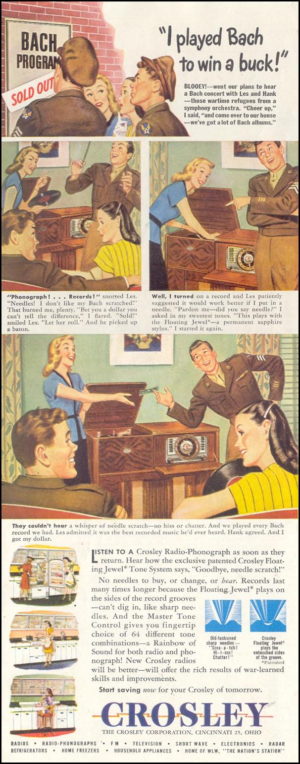 CROSLEY PHONOGRAPHS SATURDAY EVENING POST 10/06/1945 p. 118