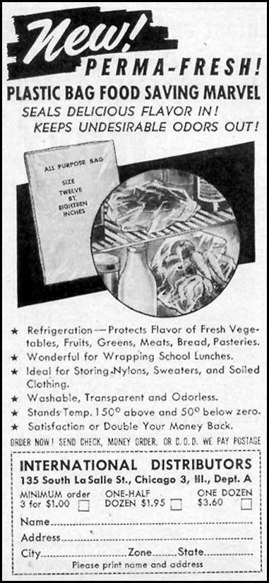 PERMA-FRESH PLASTIC FOOD BAGS WOMAN'S DAY 02/01/1947 p. 110