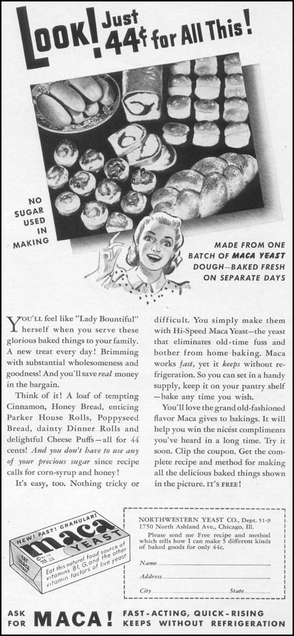 MACA YEAST WOMAN'S DAY 09/01/1942 p. 75