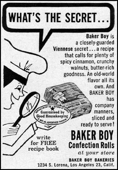 BAKER BOY CONFECTION ROLLS GOOD HOUSEKEEPING 05/01/1957 p. 271