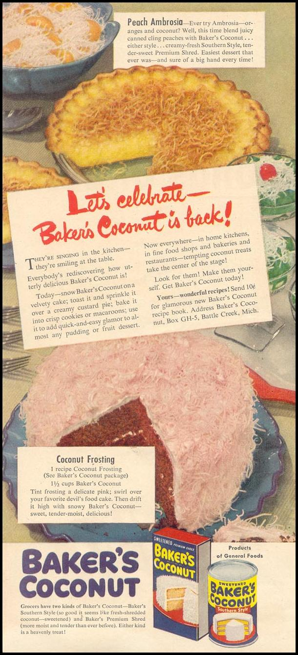 BAKER'S COCONUT GOOD HOUSEKEEPING 07/01/1948
