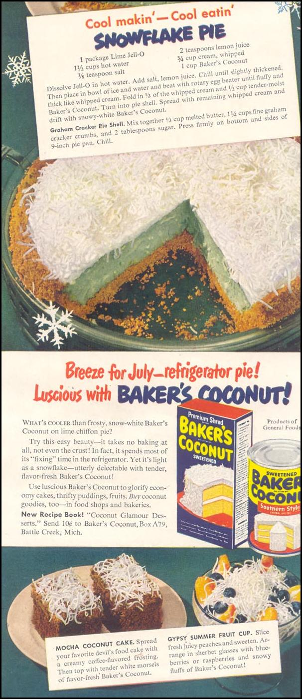 BAKER'S COCONUT GOOD HOUSEKEEPING 07/01/1949 p. 119