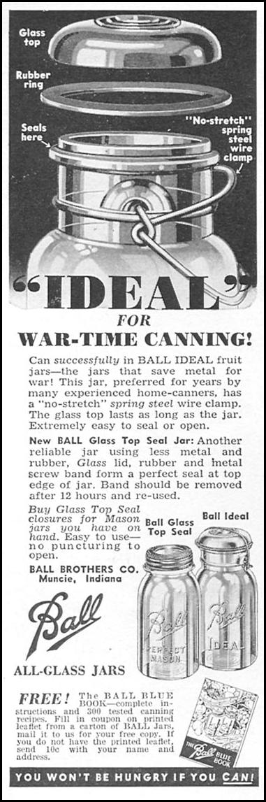 BALL ALL-GLASS JARS WOMAN'S DAY 04/01/1943 p. 58