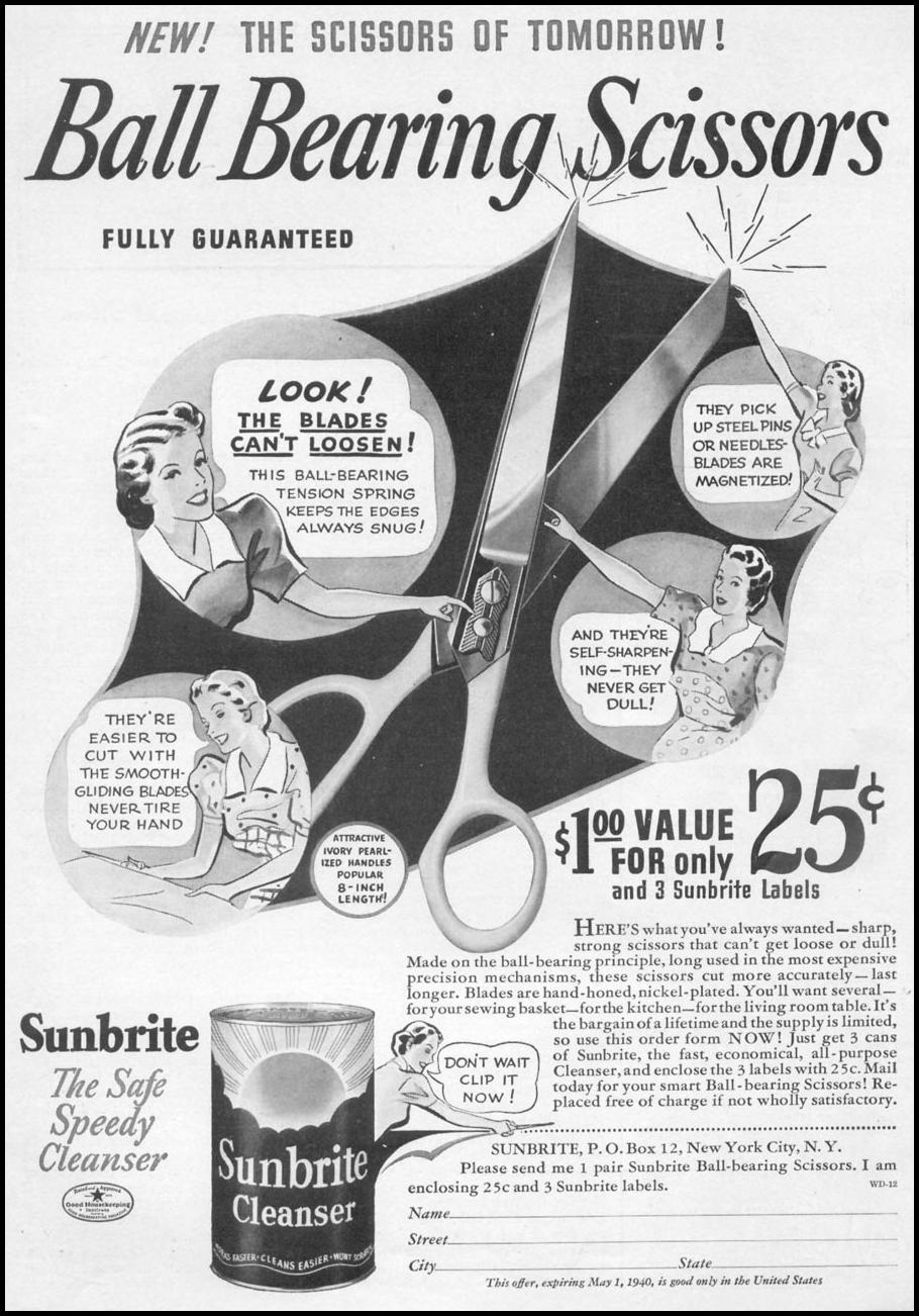 SUNBRITE CLEANSER WOMAN'S DAY 12/01/1939 p. 1