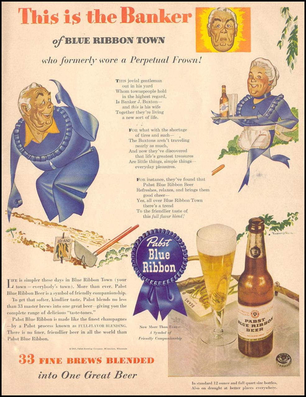 PABST BLUE RIBBON BEER LIFE 05/24/1943