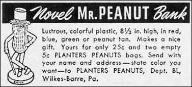 NOVEL MR. PEANUT BANK LIFE 12/25/1950 p. 52