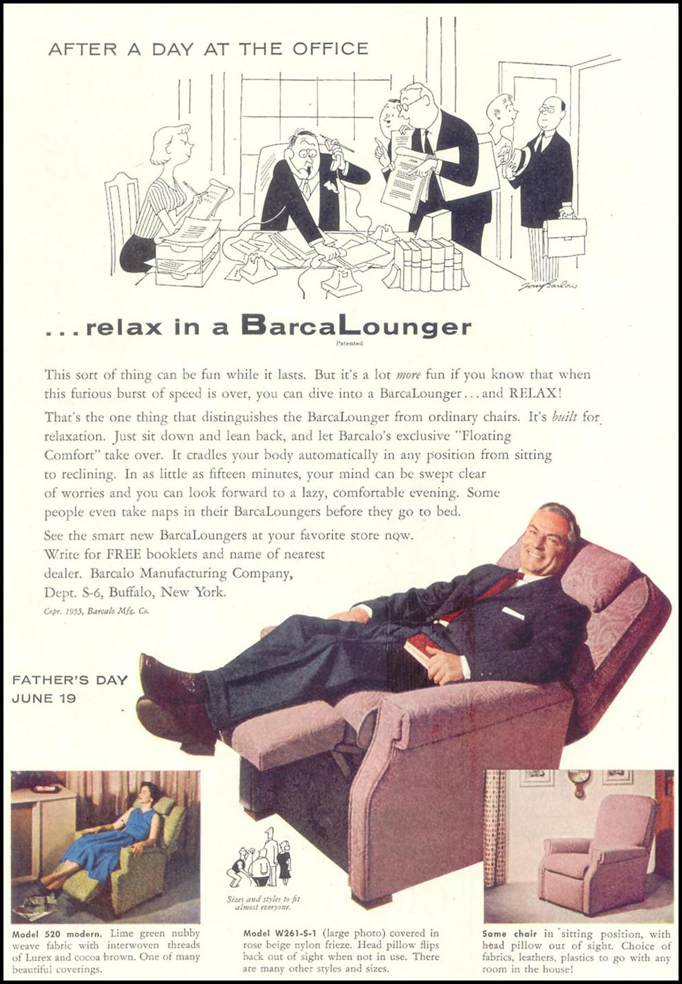 BARCALOUNGER SATURDAY EVENING POST 06/04/1955 p. 94