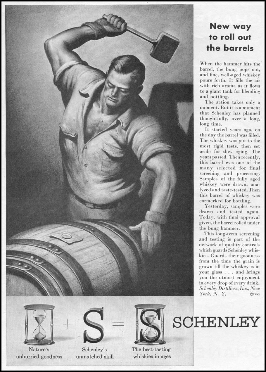 SCHENLEY WHISKIES TIME 08/17/1953 p. 57