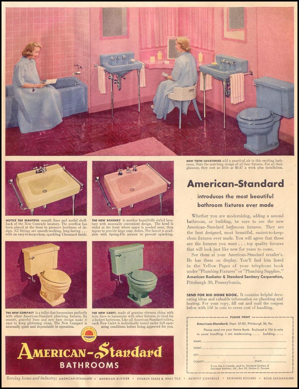AMERICAN-STANDARD BATHROOM FIXTURES LIFE 08/17/1953 p. 13