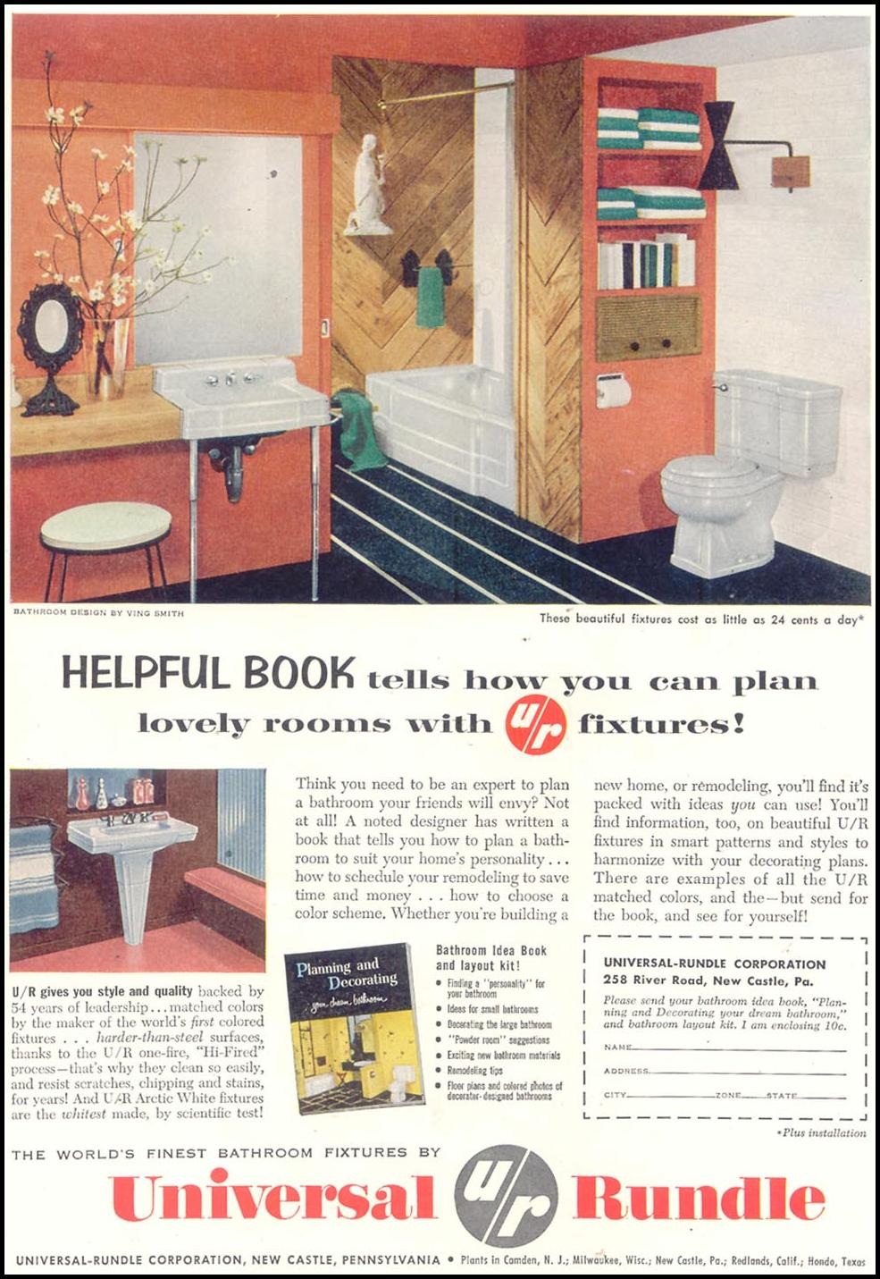 BATHROOM FIXTURES SATURDAY EVENING POST 02/05/1955 p. 87