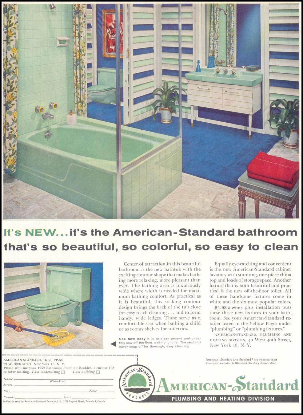 AMERICAN-STANDARD BATHROOM FIXTURES SATURDAY EVENING POST 05/02/1959 p. 84