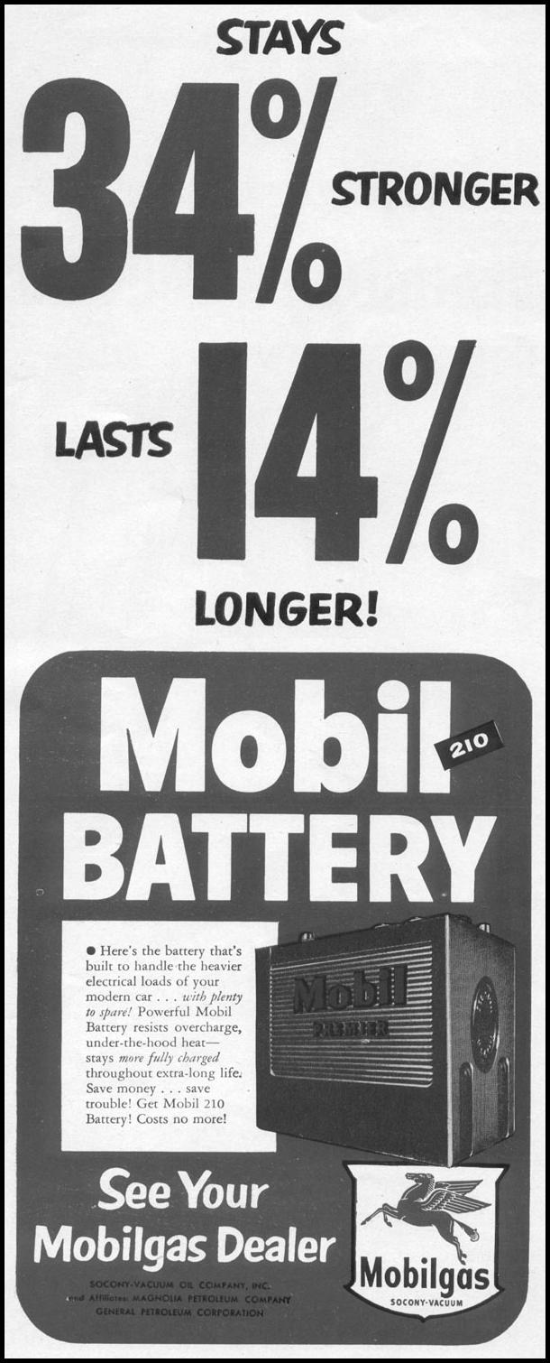 MOBIL 210 AUTOMOBILE BATTERY LIFE 10/13/1952 p. 62