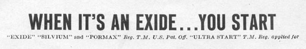 EXIDE ULTRA START AUTOMOBILE BATTERY LIFE 10/13/1952 p. 115