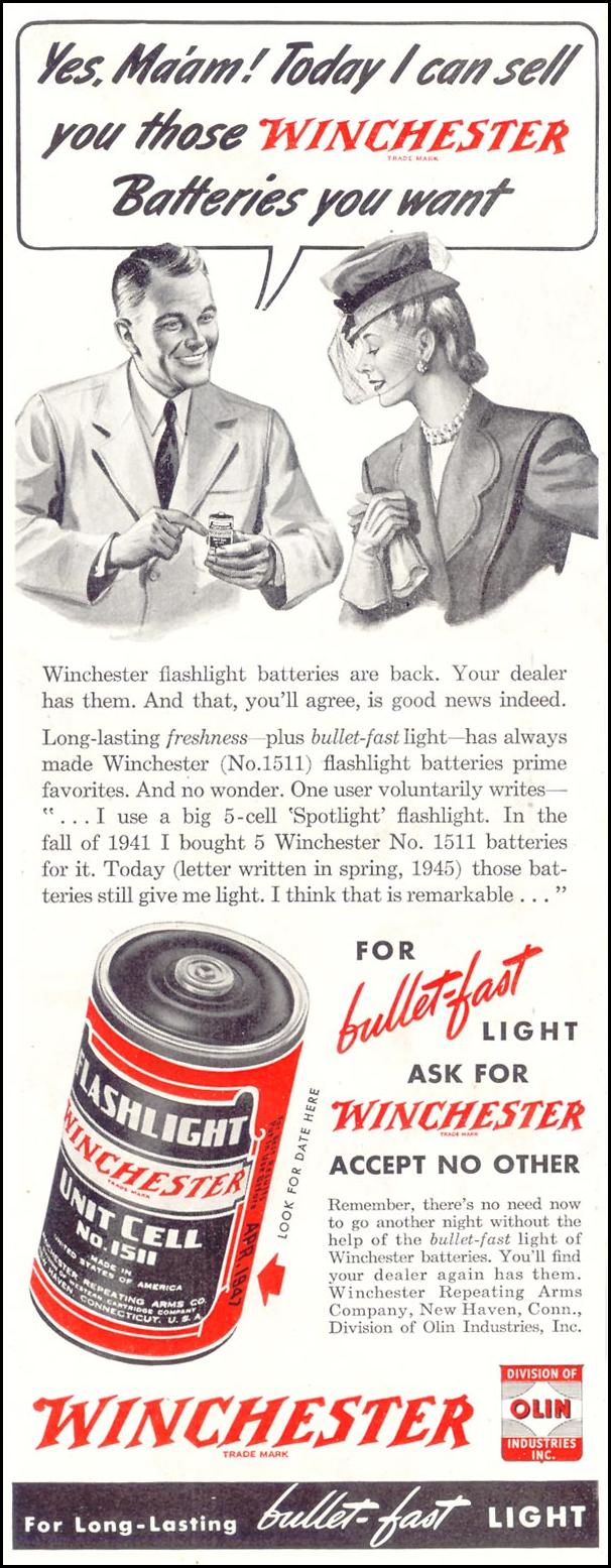 WINCHESTER BATTERIES SATURDAY EVENING POST 10/06/1945 p. 88