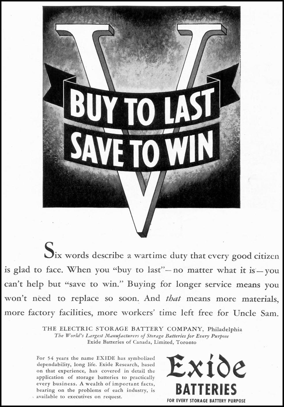EXIDE AUTO BATTERIES TIME 06/15/1942 p. 75