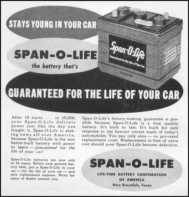 SPAN-O-LIFE AUTOMOBILE BATTERY TIME 08/17/1953 p. 36