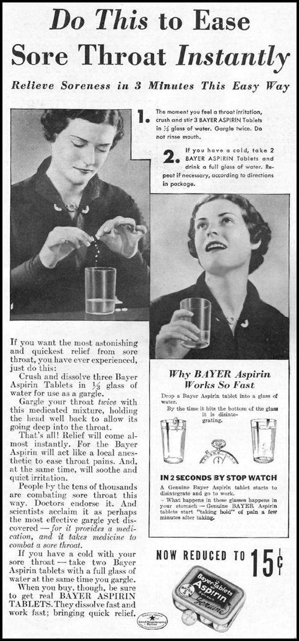 BAYER ASPIRIN GOOD HOUSEKEEPING 12/01/1935 p. 144