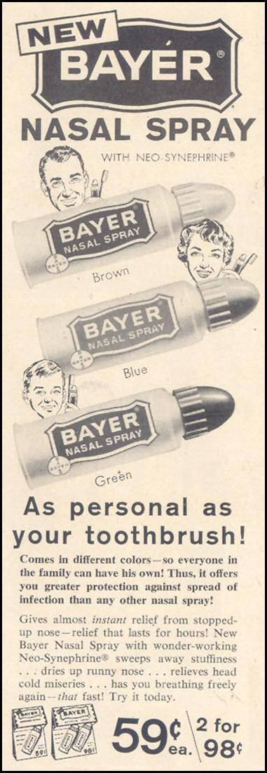 BAYER NASAL SPRAY LIFE 11/11/1957 p. 15