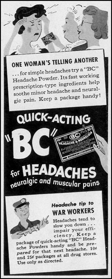 BC HEADACHE POWDER LIFE 11/08/1943 p. 18