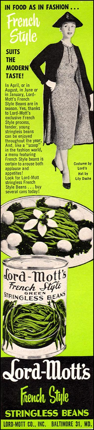 LORD-MOTT'S FRENCH STYLE STRINGLESS BEANS WOMAN'S DAY 04/01/1956 p. 126