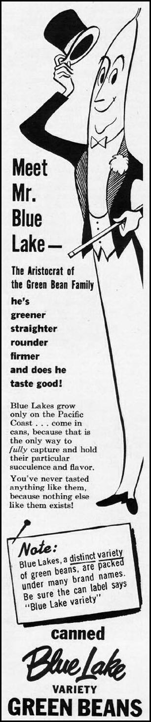 BLUE LAKE VARIETY GREEN BEANS LADIES' HOME JOURNAL 03/01/1954 p. 121