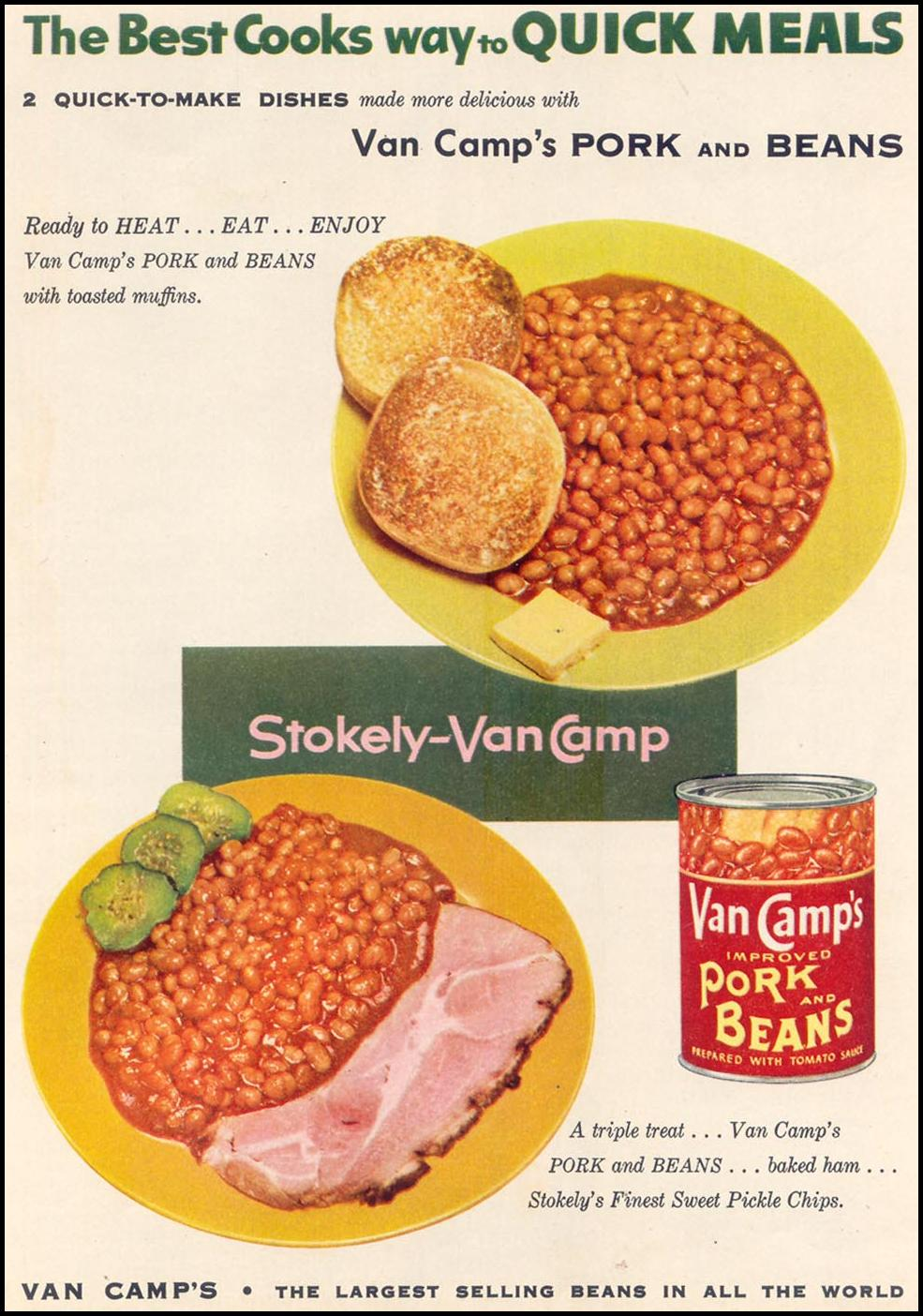 VAN CAMP'S PORK AND BEANS WOMAN'S DAY 03/01/1954 p. 21