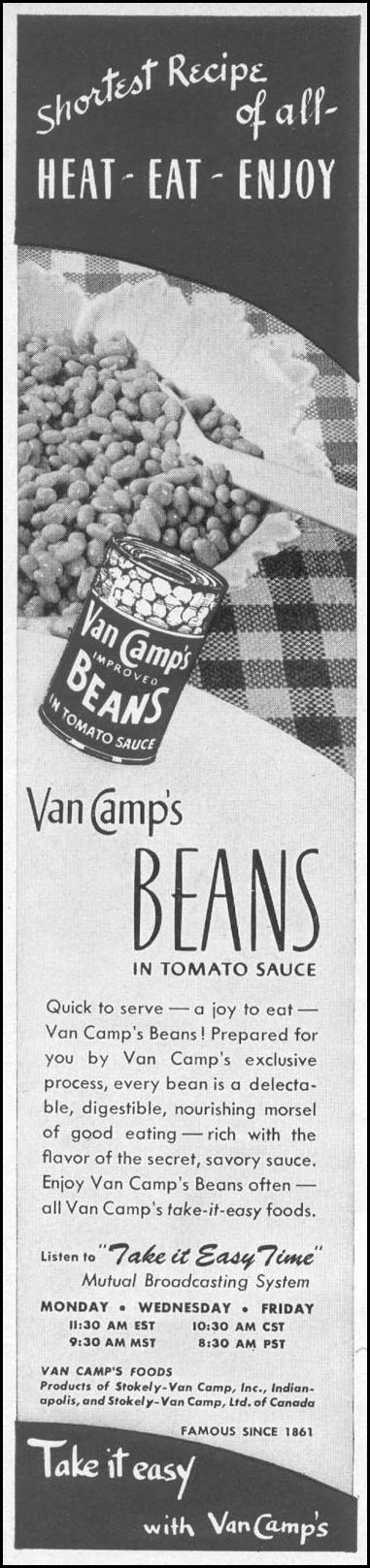 VAN CAMP'S BEANS IN TOMATO SAUCE WOMAN'S DAY 06/01/1946 p. 58