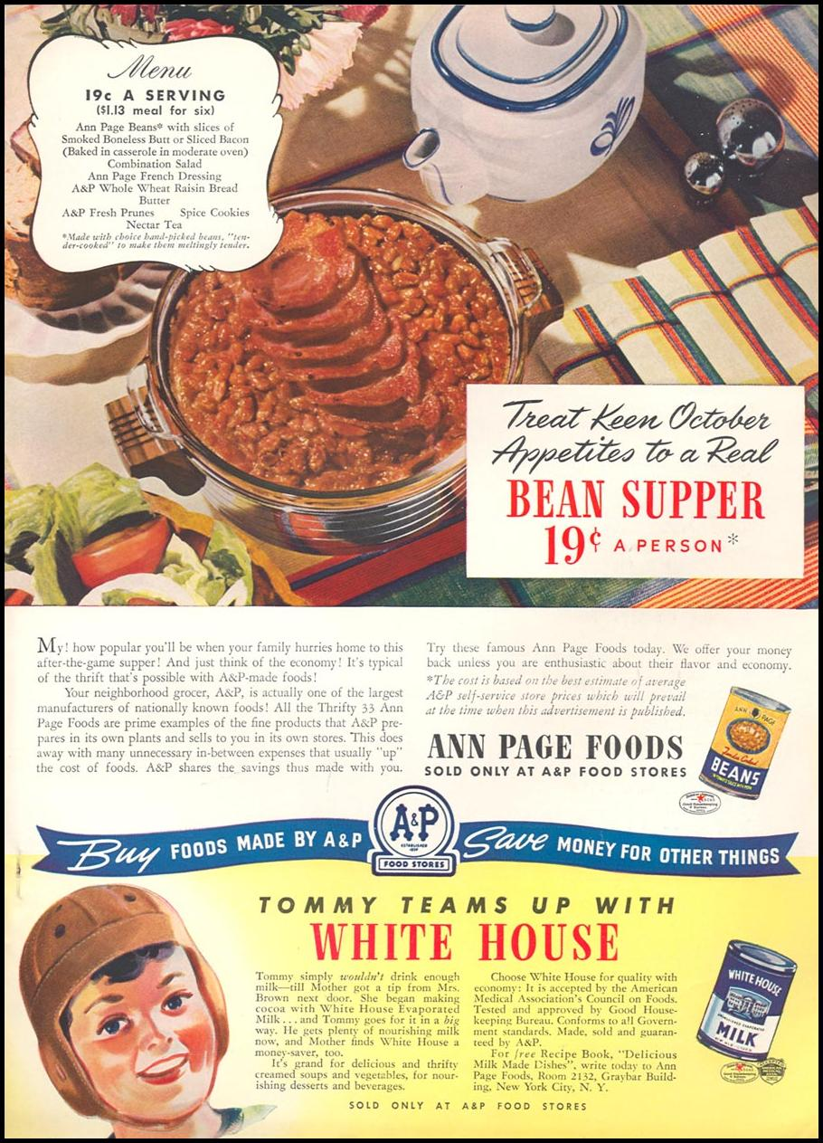 A & P ANN PAGE FOODS WOMAN'S DAY 10/01/1940 INSIDE BACK