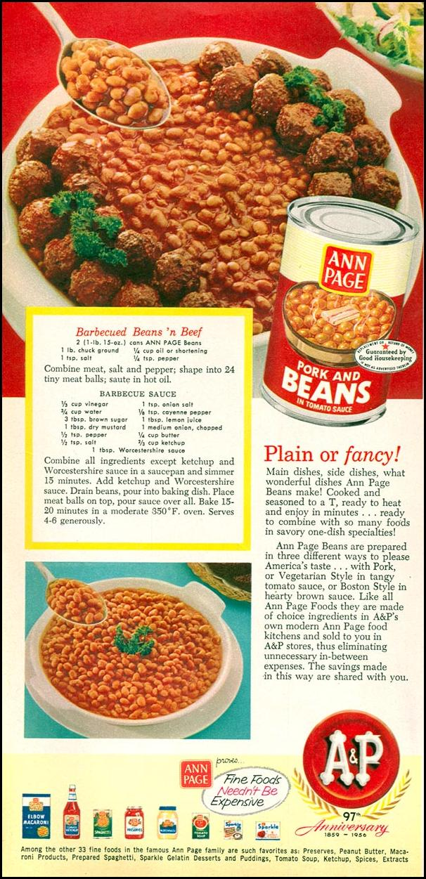 A & P ANN PAGE BEANS WOMAN'S DAY 10/01/1956 p. 58