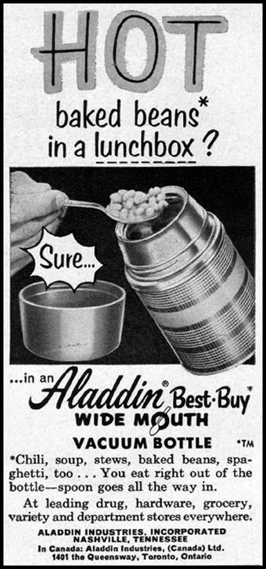 ALADDIN BEST-BUY WIDE MOUTH VACUUM BOTTLE GOOD HOUSEKEEPING 05/01/1957 p. 271