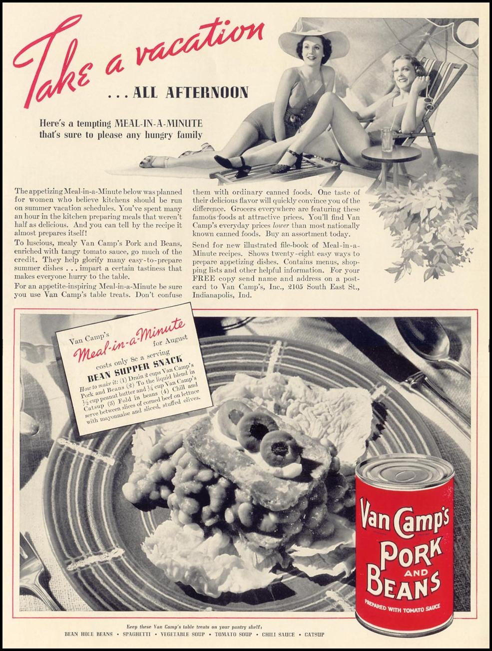 VAN CAMP'S PORK AND BEANS LIFE 07/26/1937 INSIDE FRONT