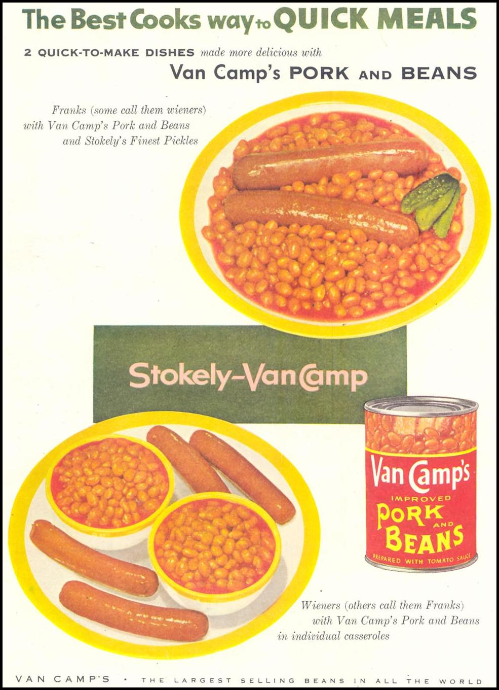 VAN CAMP'S PORK AND BEANS SATURDAY EVENING POST 02/05/1955 p. 80