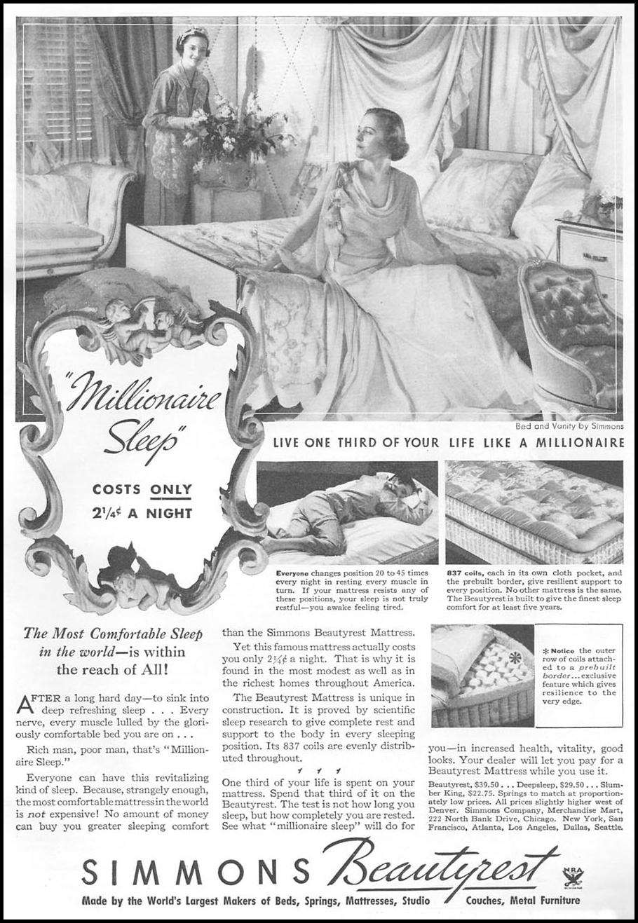 SIMMONS BEAUTYREST MATTRESS GOOD HOUSEKEEPING 06/01/1935 p. 137