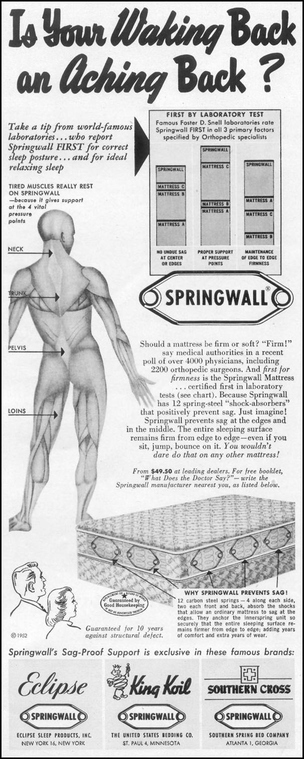 SPRINGWALL MATTRESS LIFE 10/13/1952 p. 164
