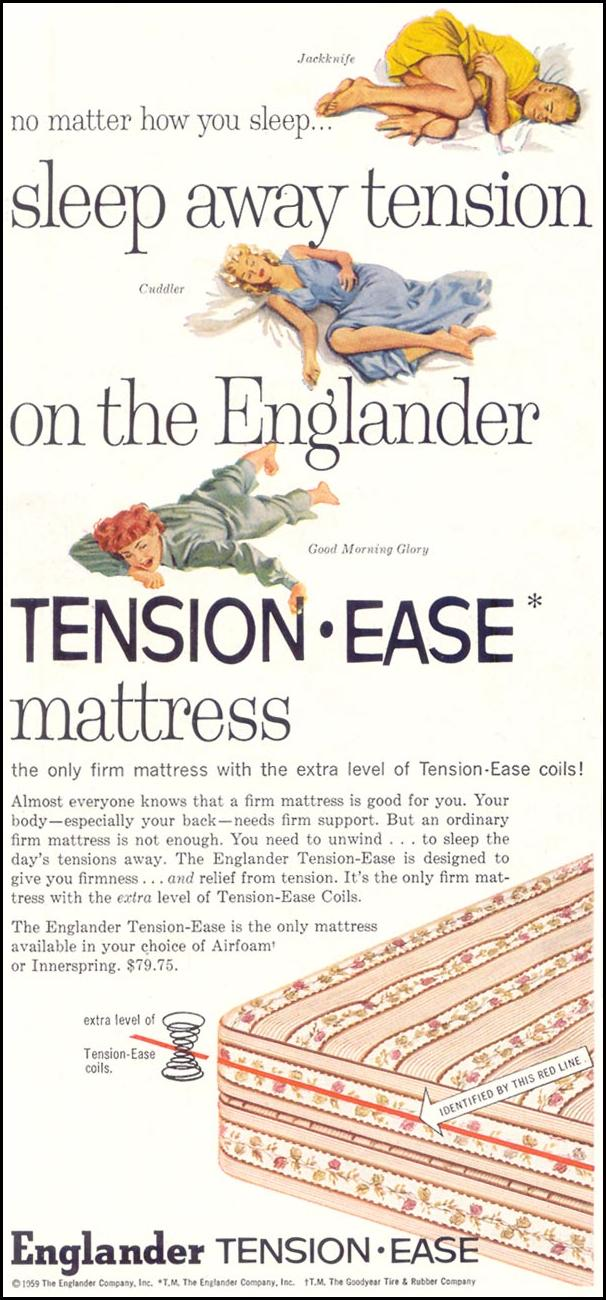 ENGLANDER TENSION-EASE MATTRESS SATURDAY EVENING POST 08/15/1959 p. 68