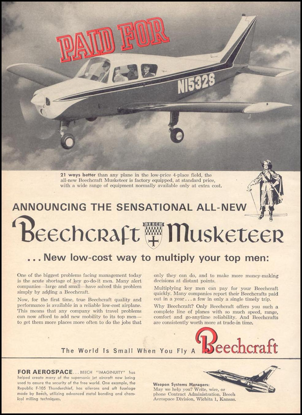 BEECHCRAFT MUSKETEER TIME 12/07/1962 p. 58