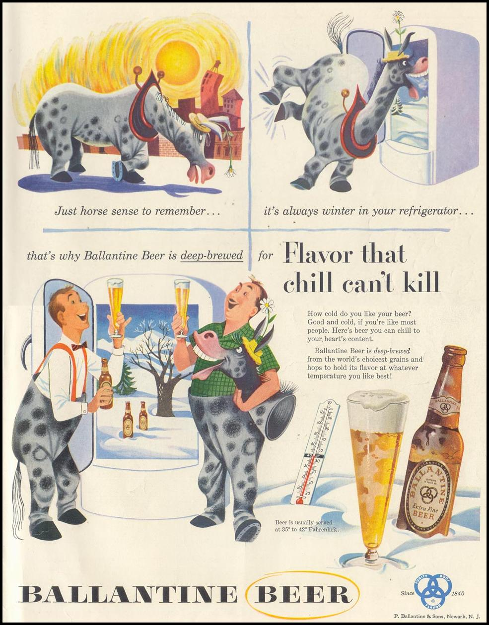 BALLANTINE BEER LIFE 07/06/1953 INSIDE BACK