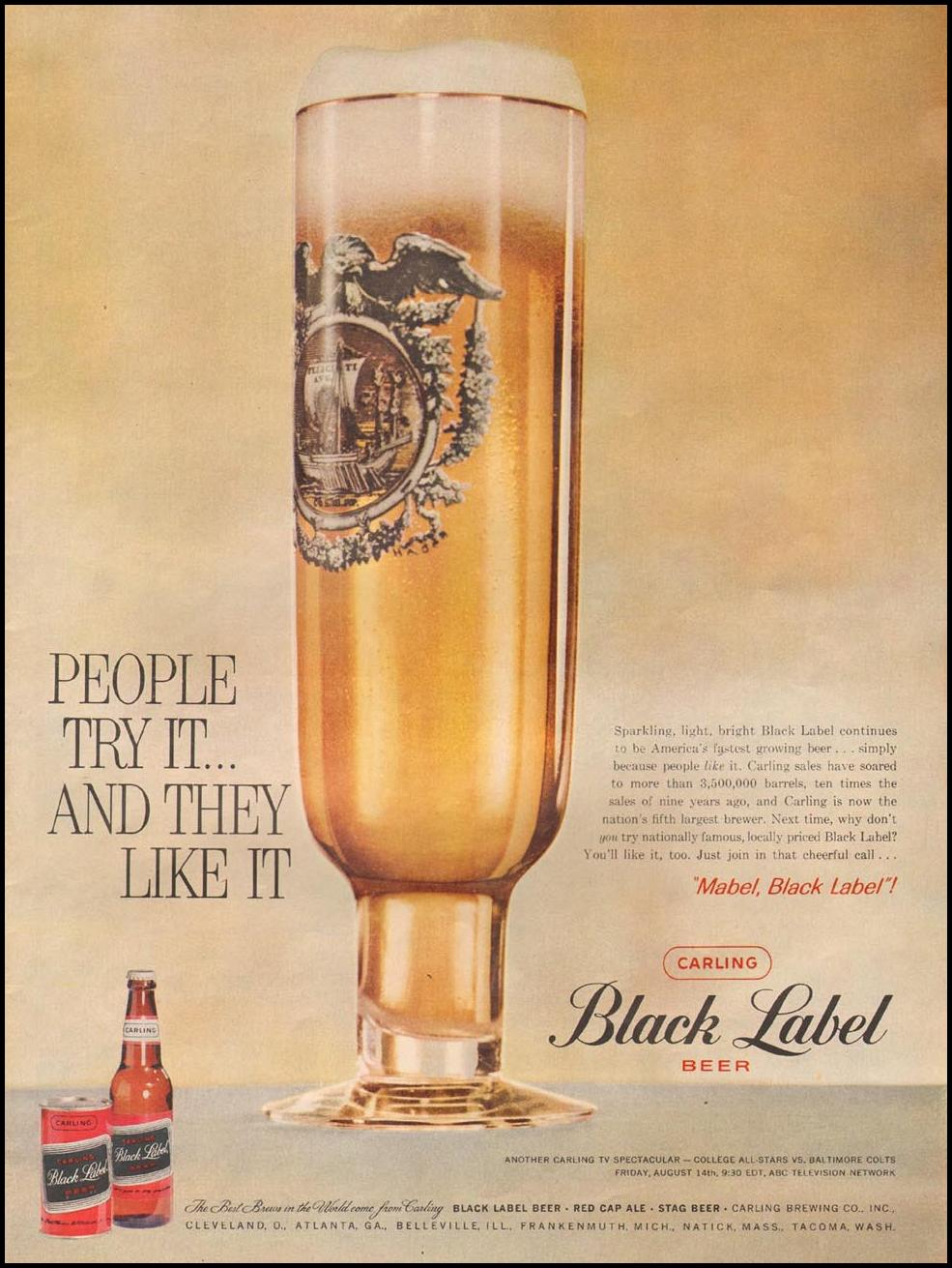 CARLING BLACK LABEL BEER LIFE 08/10/1958