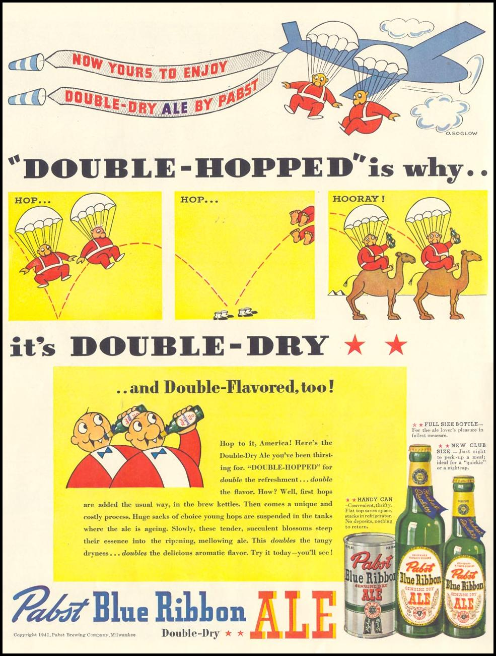 PABST BLUE RIBBON DOUBLE-DRY ALE LIFE 10/13/1941