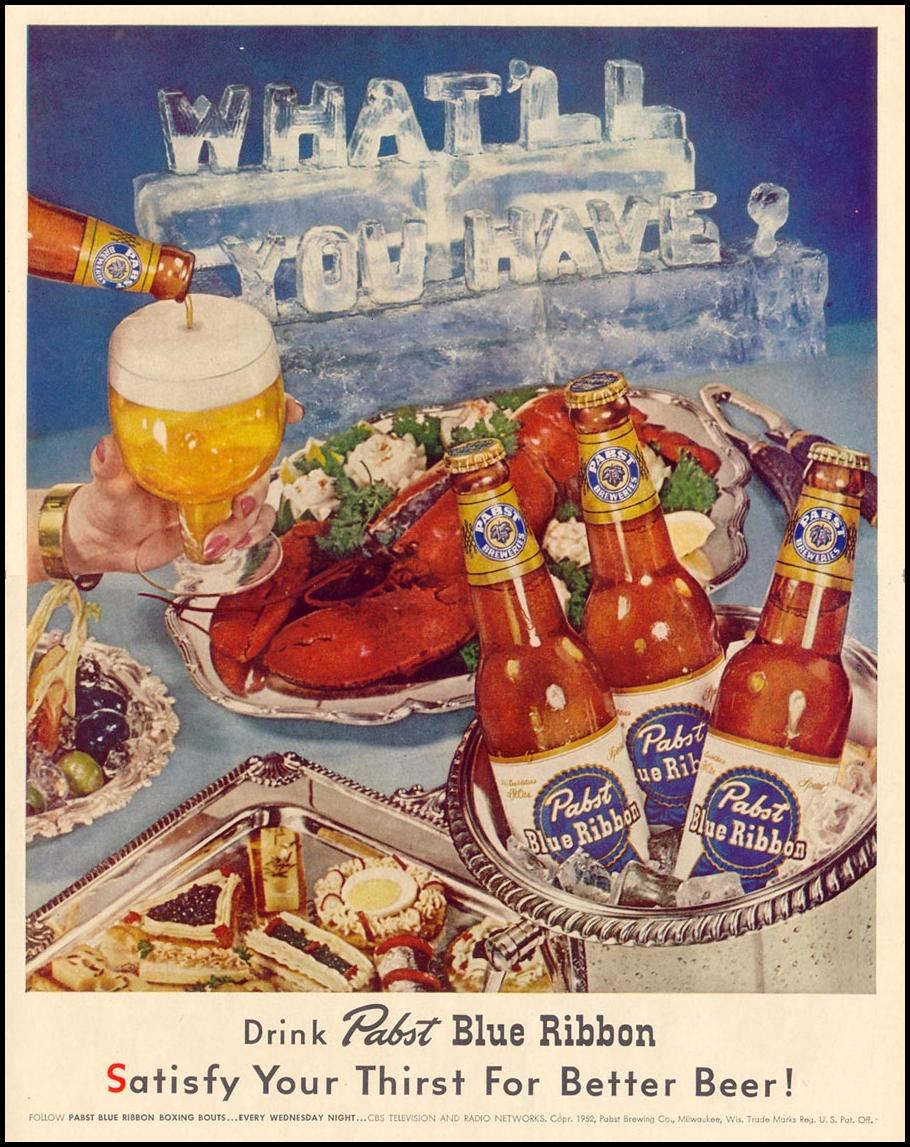 PABST BLUE RIBBON BEER LIFE 10/13/1952 p. 57