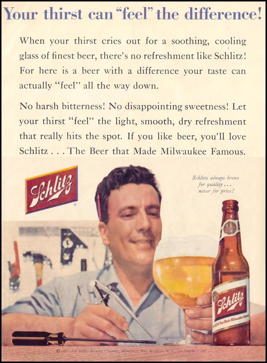 SCHLITZ BEER LIFE 11/14/1955 p. 97