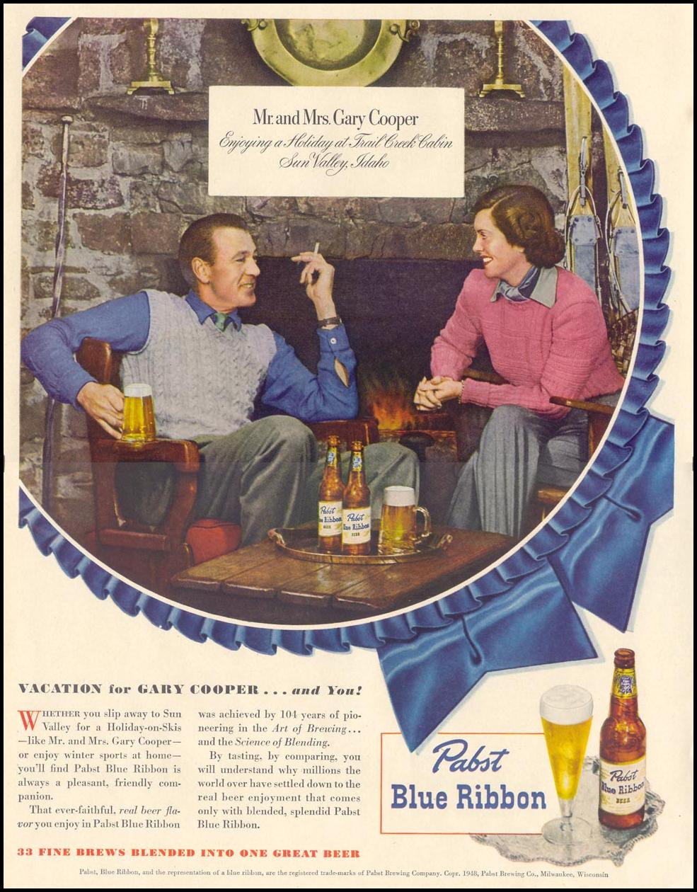 PABST BLUE RIBBON BEER LIFE 11/15/1948