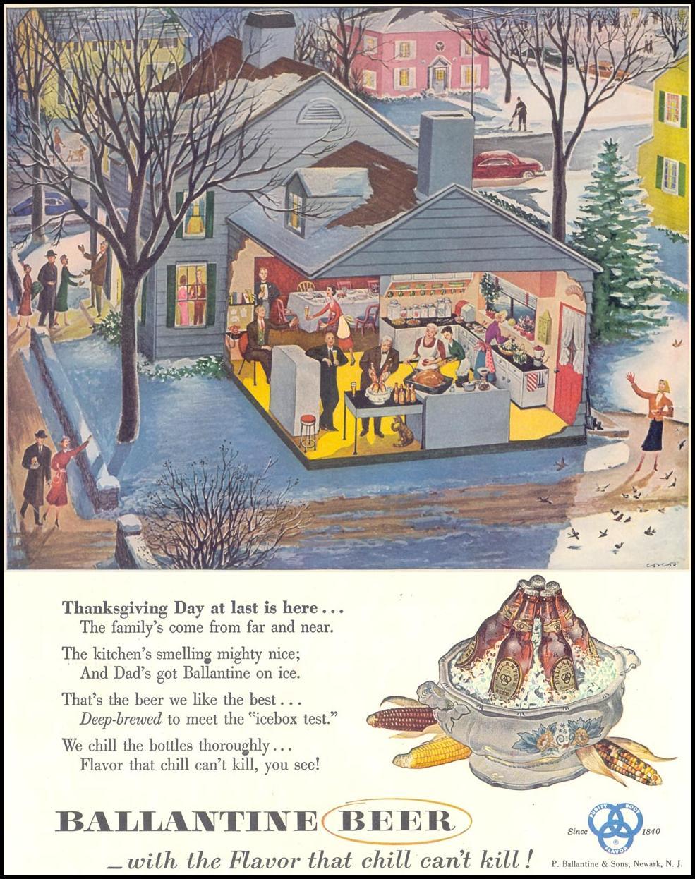 BALLANTINE BEER LIFE 11/30/1953 p. 136
