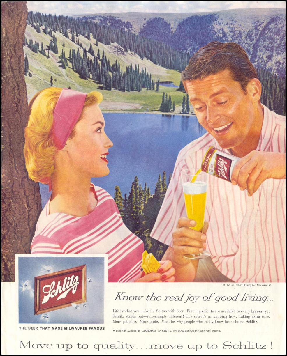 SCHLITZ BEER SATURDAY EVENING POST 08/15/1959 p. 5
