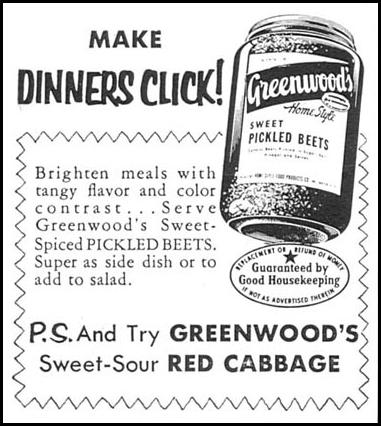 GREENWOOD'S HOME STYLE SWEET PICKLED BEETS WOMAN'S DAY 02/01/1954 p. 174