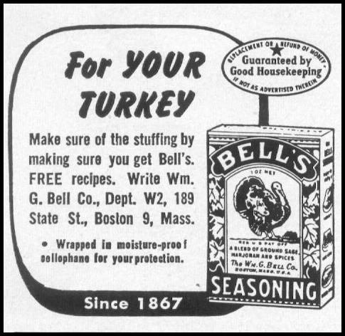 BELL'S SEASONING WOMAN'S DAY 12/01/1948 p. 118