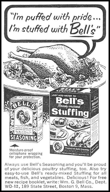 BELL'S SEASONING WOMAN'S DAY 12/01/1954 p. 116