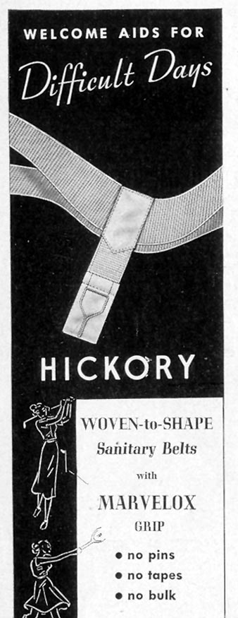 HICKORY WOVEN-TO-SHAPE SANITARY BELTS WITH MARVELOX GRIP LIFE 10/04/1937 p. 94