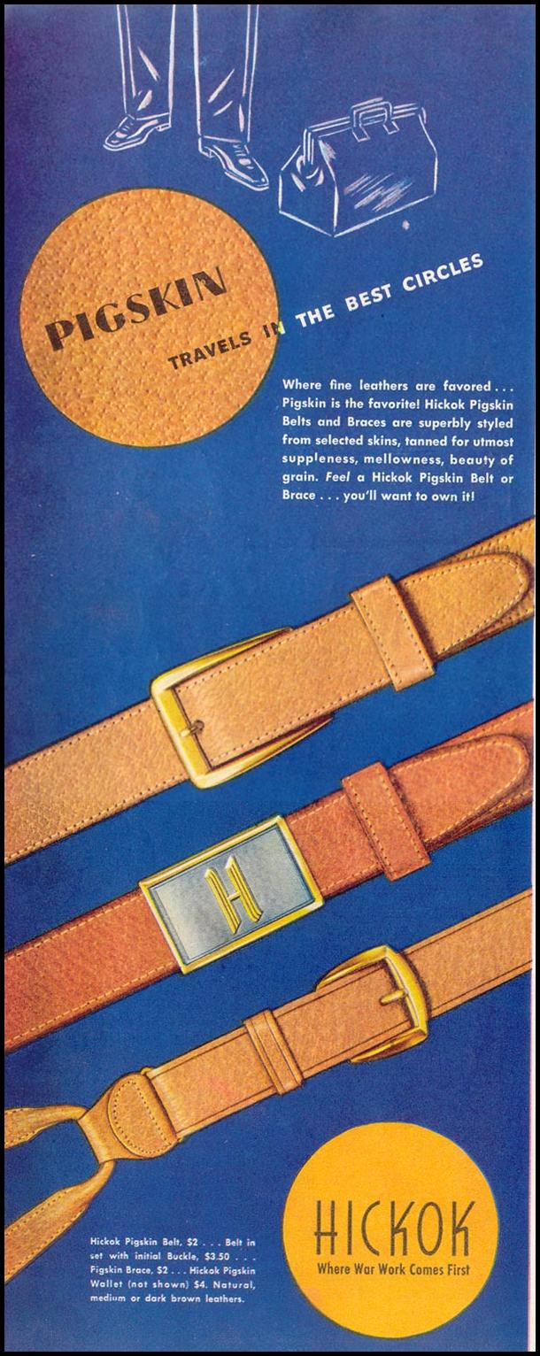 HICKOK PIGSKIN BELTS AND BRACES SATURDAY EVENING POST 05/19/1945 p. 102