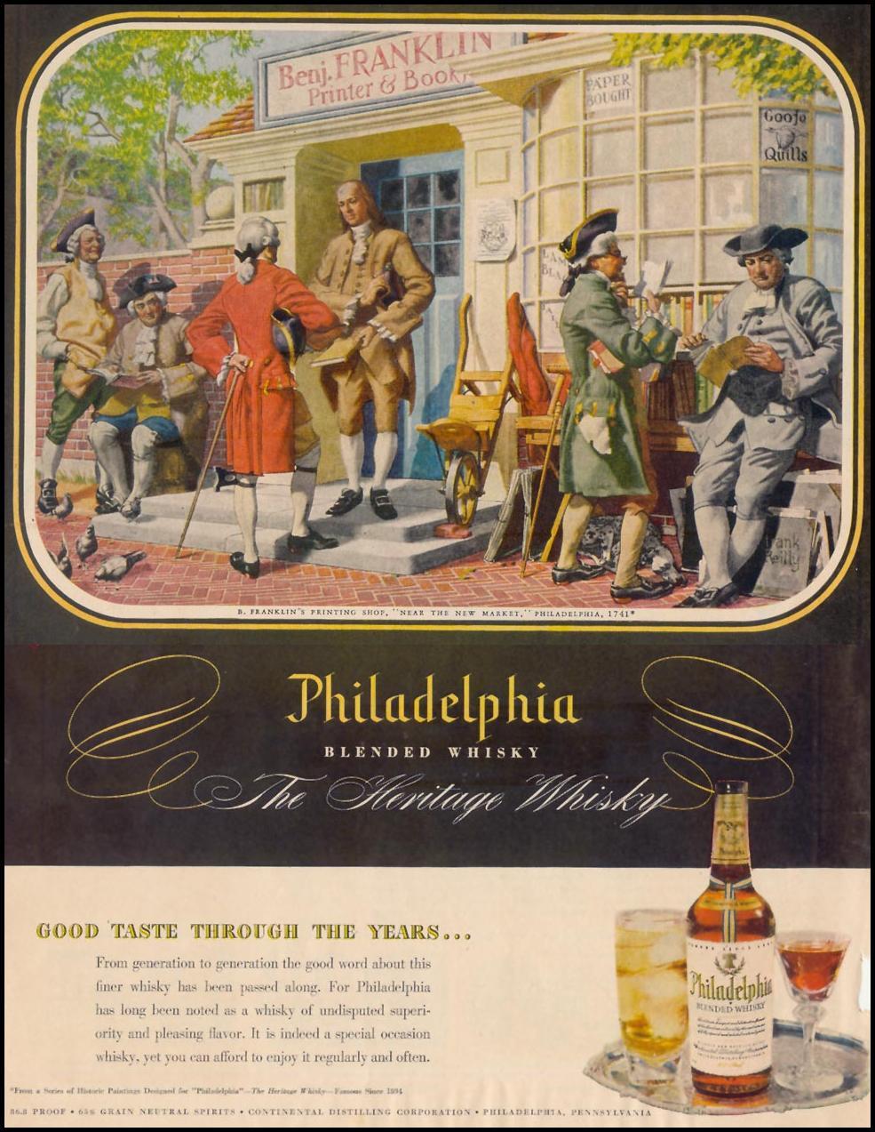 PHILADELPHIA BLENDED WHISKY LIFE 12/25/1950